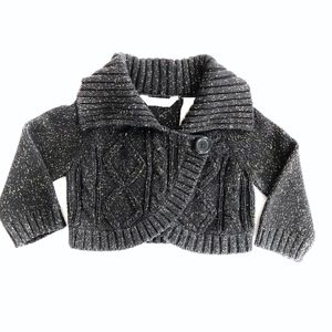 Baby Girl 18 Months Black Knit Cropped Cardigan